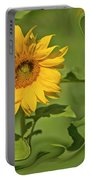 Yellow Sunflower On Green Background Portable Battery Charger