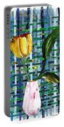 Yellow Tulip In A Pink Vase Portable Battery Charger