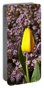 Yellow Tulip In The Garden Portable Battery Charger