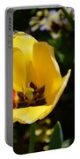 Yellow Tulip With Red Stripe Portable Battery Charger