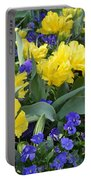 Yellow Tulips And Violets Portable Battery Charger