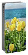 Yellow Tulips Near Lake Portable Battery Charger