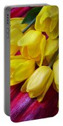 Yellow Tulips With Dew Drops Portable Battery Charger