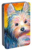 Yorkie Puppy Painting Print Portable Battery Charger