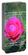 You Marry The Person Who Cannot Live Without Motivational Quote Portable Battery Charger