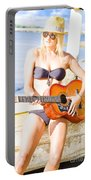 Young Attractive Blonde Woman Playing Guitar Portable Battery Charger