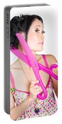Young Beautiful Woman Cutting Hair At Beauty Salon Portable Battery Charger