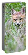 Young Fox Kit Hiding In Tall Grass Portable Battery Charger