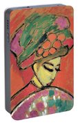 Young Girl With A Flowered Hat By Alexei Jawlensky Portable Battery Charger