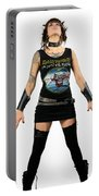Young Heavy Metal Female Punk Fan Standing Tall With Horns Pierc Portable Battery Charger