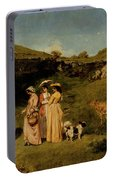 Young Ladies Of The Village By Gustave Courbet, 1851-1852 Portable Battery Charger