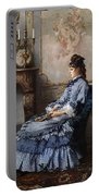 Young Lady At The Fireplace Portable Battery Charger