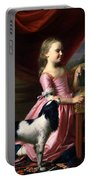 Young Lady With A Bird And A Dog Portable Battery Charger