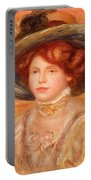 Young Woman In A Blue Hat Portable Battery Charger by Pierre Auguste Renoir