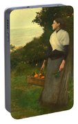 Young Woman In A Garden Of Oranges Portable Battery Charger