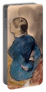 Young Woman In Blue Portable Battery Charger