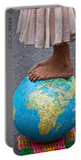 Young Woman Standing On Globe Portable Battery Charger by Garry Gay