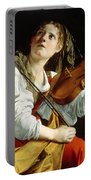 Young Woman With A Violin Portable Battery Charger