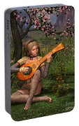 Young Women Playing The Lute Portable Battery Charger