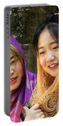 Young Women Silk Scarves 01 Portable Battery Charger