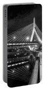 Zakim Bridge And Charles River, Boston, Massachusetts #92317 Portable Battery Charger by John Bald