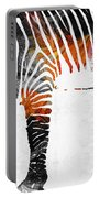 Zebra Black White And Red Orange By Sharon Cummings  Portable Battery Charger