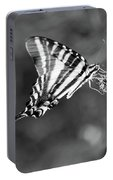 Zebra Swallowtail Butterfly Black And White Portable Battery Charger