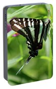 Zebra Swallowtail Butterfly In Green Portable Battery Charger