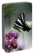 Zebra Swallowtail Butterfly On Verbena Portable Battery Charger