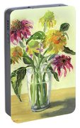 Zinnias In Vase Portable Battery Charger