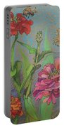 Zinnias With Bee Portable Battery Charger
