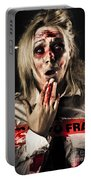 Zombie Woman Expressing Fear And Shock When Waking Portable Battery Charger