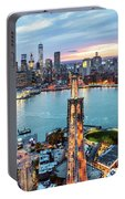 Aerial Of New York City  And Brooklyn Bridge At Dusk Portable Battery Charger
