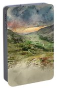 Digital Watercolor Painting Of Beautiful Dramatic Landscape Imag Portable Battery Charger