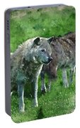 Digital Watercolor Painting Of Beautiful Timber Wolf Cnis Lupus  Portable Battery Charger
