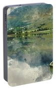 Digital Watercolor Painting Of Panorama Landscape Rowing Boats O Portable Battery Charger