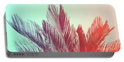 Duotone Background Of Tropical Palm Leaves Portable Battery Charger