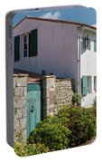 french houses in the streets of Saint Martin de re Portable Battery Charger