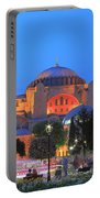 Hagia Sophia At Night Istanbul Turkey  Portable Battery Charger