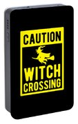 Halloween Shirt Caution Witch Crossing Gift Tee Portable Battery Charger