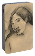 Heads Of Tahitian Women, Frontal And Profile Views Portable Battery Charger