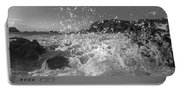 Ocean Wave Splash In Black And White Portable Battery Charger