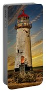 Point Of Ayr Lighthouse Sunset Portable Battery Charger