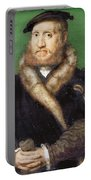 Portrait Of A Bearded Man With A Fur Coat  Portable Battery Charger