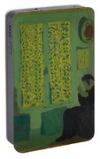 The Green Interior  Figure Seated By A Curtained Window   Portable Battery Charger