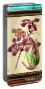 Vintage Orchid Antique Design Marble Caribbean-blue Portable Battery Charger