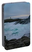 Waves Hitting The Rocks Portable Battery Charger