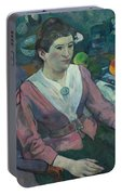 Woman In Front Of A Still Life By Cezanne Portable Battery Charger