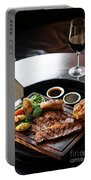 Sunday Roast Beef Traditional British Meal Set On Table Portable Battery Charger