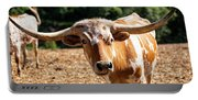 Longhorn Bull In The Paddock Portable Battery Charger